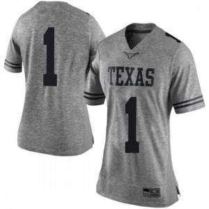 Women Texas Longhorns Andrew Jones #1 Limited Gray Football Jersey 314929-749