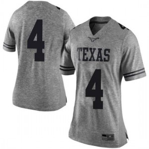 Women Texas Longhorns Anthony Cook #4 Limited Gray Football Jersey 183134-134