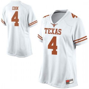 Women Texas Longhorns Anthony Cook #4 Replica White Football Jersey 814311-490