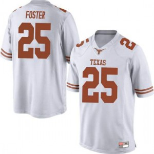 Men Texas Longhorns B.J. Foster #25 Replica White Football Jersey 544183-656
