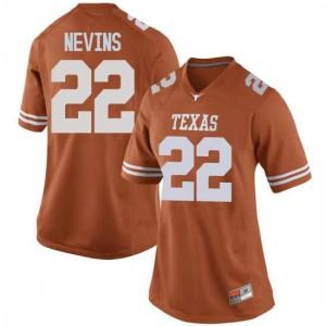 Women Texas Longhorns Blake Nevins #22 Game Orange Football Jersey 317394-691