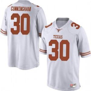 Men Texas Longhorns Brock Cunningham #30 Replica White Football Jersey 396933-350