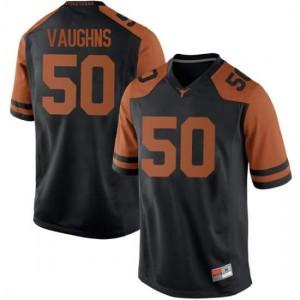 Men Texas Longhorns Byron Vaughns #50 Replica Black Football Jersey 827830-238