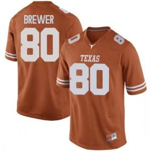 Men Texas Longhorns Cade Brewer #80 Replica Orange Football Jersey 675499-304
