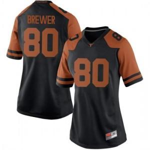 Women Texas Longhorns Cade Brewer #80 Replica Black Football Jersey 847142-664