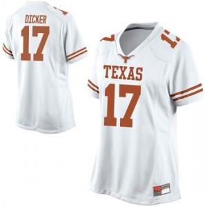 Women Texas Longhorns Cameron Dicker #17 Game White Football Jersey 974144-605