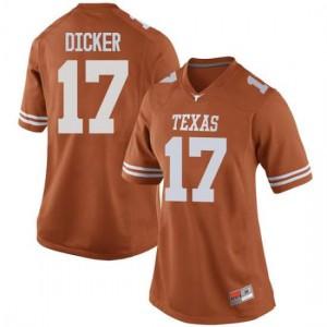 Women Texas Longhorns Cameron Dicker #17 Replica Orange Football Jersey 932427-821