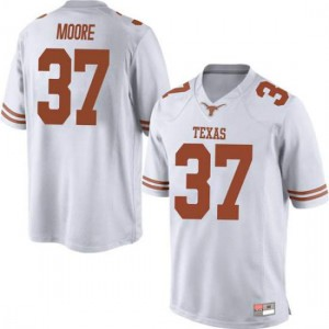 Men Texas Longhorns Chase Moore #37 Replica White Football Jersey 428059-162