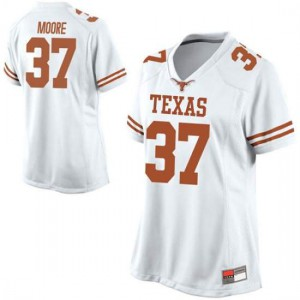 Women Texas Longhorns Chase Moore #37 Replica White Football Jersey 122739-676