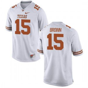 Youth Texas Longhorns Chris Brown #15 Authentic White Football Jersey 839764-130