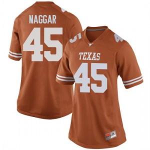 Women Texas Longhorns Chris Naggar #45 Replica Orange Football Jersey 959491-168