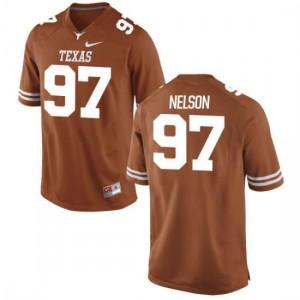 Men Texas Longhorns Chris Nelson #97 Authentic Tex Orange Football Jersey 504574-695