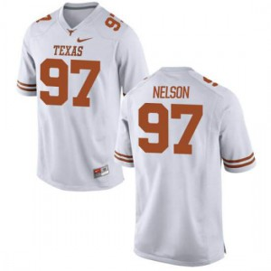 Men Texas Longhorns Chris Nelson #97 Authentic White Football Jersey 816883-972