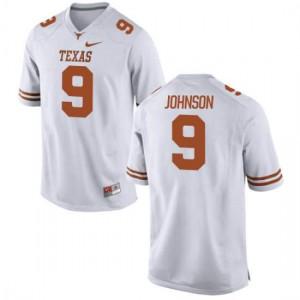 Women Texas Longhorns Collin Johnson #9 Authentic White Football Jersey 163520-255