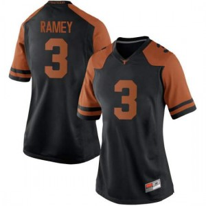 Women Texas Longhorns Courtney Ramey #3 Game Black Football Jersey 482913-328