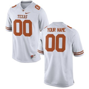 Women Texas Longhorns Customized #00 Authentic White Football Jersey 524027-550