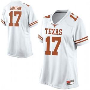 Women Texas Longhorns D'Shawn Jamison #17 Replica White Football Jersey 503637-664