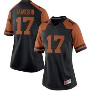 Women Texas Longhorns D'Shawn Jamison #17 Replica Black Football Jersey 542625-730