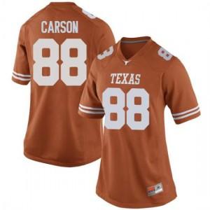 Women Texas Longhorns Daniel Carson #88 Game Orange Football Jersey 597865-226