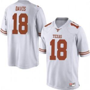 Men Texas Longhorns Davante Davis #18 Replica White Football Jersey 149626-823