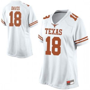 Women Texas Longhorns Davante Davis #18 Game White Football Jersey 333073-116