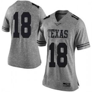 Women Texas Longhorns Davante Davis #18 Limited Gray Football Jersey 434656-456