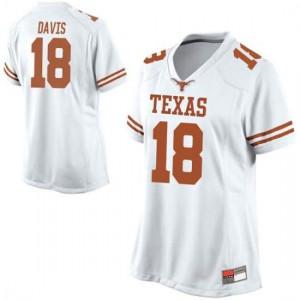 Women Texas Longhorns Davante Davis #18 Replica White Football Jersey 373699-299
