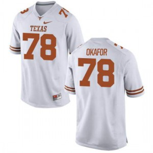 Youth Texas Longhorns Denzel Okafor #78 Authentic White Football Jersey 445810-687