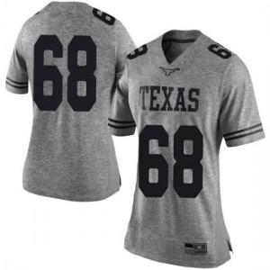 Women Texas Longhorns Derek Kerstetter #68 Limited Gray Football Jersey 207206-666