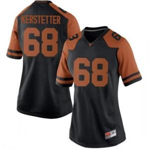 Women Texas Longhorns Derek Kerstetter #68 Replica Black Football Jersey 823017-205