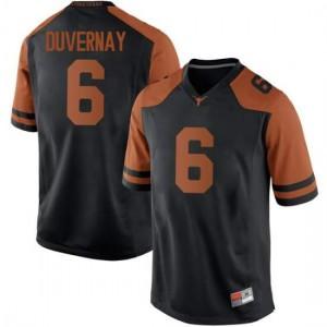 Men Texas Longhorns Devin Duvernay #6 Replica Black Football Jersey 515567-510