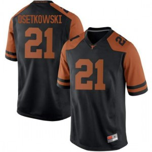 Men Texas Longhorns Dylan Osetkowski #21 Replica Black Football Jersey 406459-547