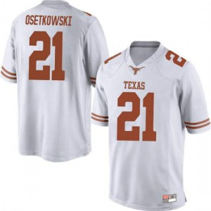 Men Texas Longhorns Dylan Osetkowski #21 Replica White Football Jersey 753798-477