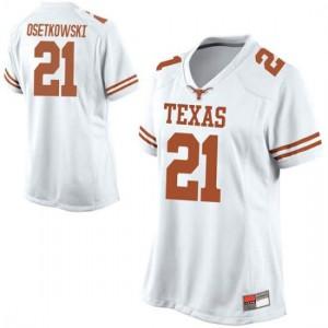 Women Texas Longhorns Dylan Osetkowski #21 Replica White Football Jersey 807057-332