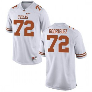 Women Texas Longhorns Elijah Rodriguez #72 Authentic White Football Jersey 364455-704