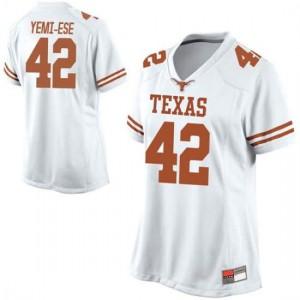 Women Texas Longhorns Femi Yemi-Ese #42 Replica White Football Jersey 472282-750