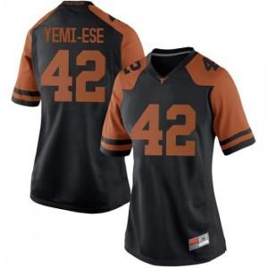 Women Texas Longhorns Femi Yemi-Ese #42 Replica Black Football Jersey 137303-197