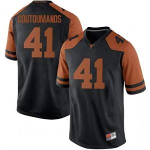 Men Texas Longhorns Hank Coutoumanos #41 Replica Black Football Jersey 443764-781