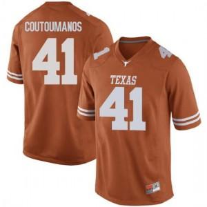 Men Texas Longhorns Hank Coutoumanos #41 Replica Orange Football Jersey 934861-746