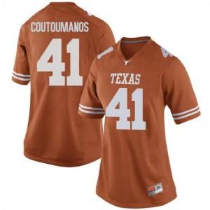 Women Texas Longhorns Hank Coutoumanos #41 Game Orange Football Jersey 122747-257