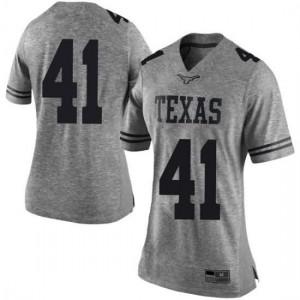 Women Texas Longhorns Hank Coutoumanos #41 Limited Gray Football Jersey 509525-643