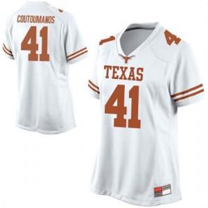Women Texas Longhorns Hank Coutoumanos #41 Replica White Football Jersey 839213-814