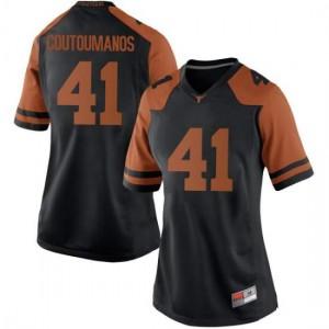 Women Texas Longhorns Hank Coutoumanos #41 Replica Black Football Jersey 678364-202