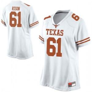 Women Texas Longhorns Ishan Rison #61 Replica White Football Jersey 189957-592