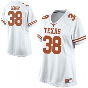 Women Texas Longhorns Jack Geiger #38 Replica White Football Jersey 131484-616