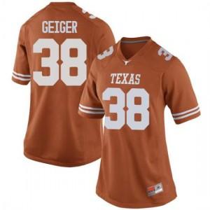 Women Texas Longhorns Jack Geiger #38 Replica Orange Football Jersey 578757-626