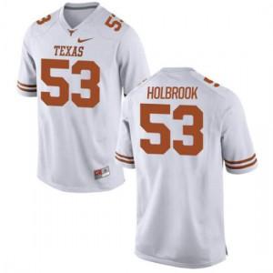Men Texas Longhorns Jak Holbrook #53 Replica White Football Jersey 820887-692
