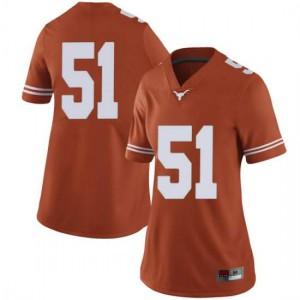 Women Texas Longhorns Jakob Sell #51 Limited Orange Football Jersey 901576-254