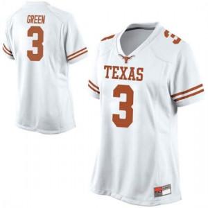 Women Texas Longhorns Jalen Green #3 Replica White Football Jersey 540815-779