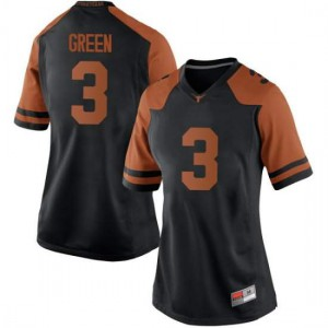 Women Texas Longhorns Jalen Green #3 Replica Black Green Football Jersey 692868-568